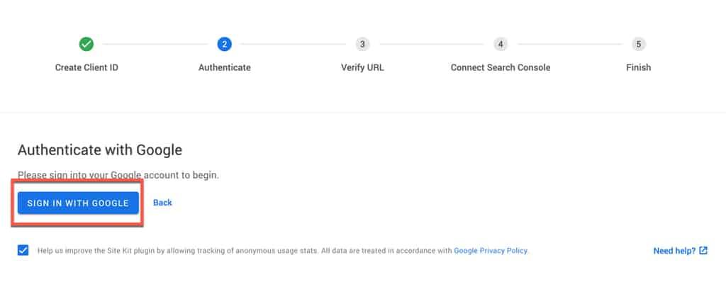 Verifiera SiteKit kopplingen med ditt google login